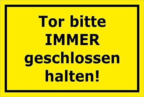 Melis Folienwerkstatt Schild Tor Bitte stets geschlossen halten – 15x20cm, 30x20cm und 45x30cm – Bohrlöcher Aufkleber Hartschaum Aluverbund -S00142C