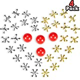 4 Sets Jacks Game Toys Kit, Include 40 Pieces Metal Jacks and 4 Pieces Red Rubber Balls for Kids and Adults
