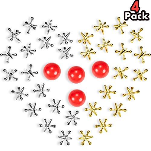 Gejoy 4 Sets Jacks Spiel Spielzeuge Kit, Enthalten 40 Stück Metall Jacks und 4 Stück Rote Gummibälle für Kinder und Erwachsene