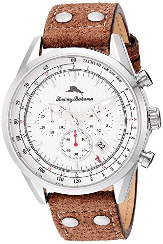Tommy Bahama Men's Stainless Steel Japanese Quartz Leather Calfskin Strap, Brown, 22 Casual Watch (Model: TB00105-02)