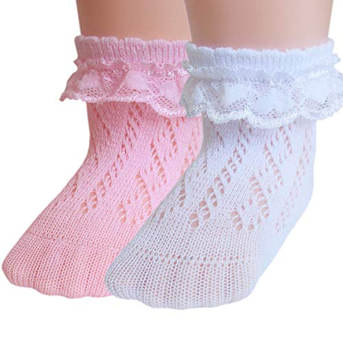 JHosiery Calcetines de algodón Pointelle para niñas con costura plana