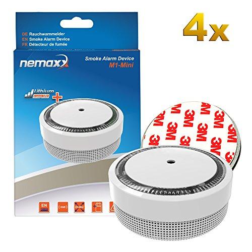 Nemaxx 6873 M1-Mini Rauchmelder weiß-fotoelektrischer Rauchwarnmelder nach neuestem VdS Standard mit Lithiumbatterie Typ DC3V nach DIN EN14604 + 4x Magnethalterung, 4er-Paket, 4 Stück