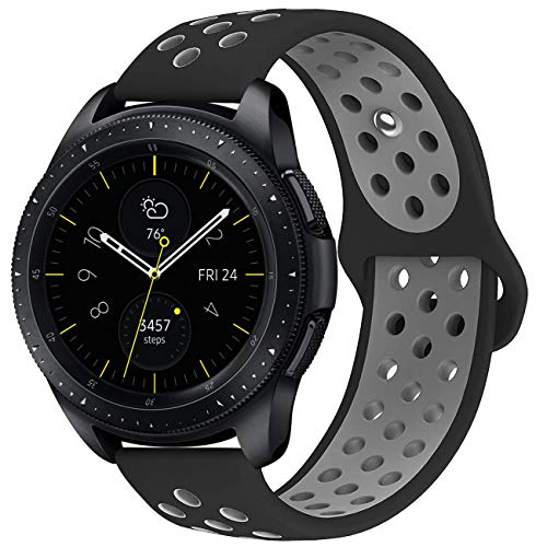 KADES Galaxy Watch 42mm Band, Galaxy Watch Active Band, 20mm Replacement Strap with Quick Release Pin Compatible for Ticwatch E, Amazfit Bip Smart Watch (Black Gray)