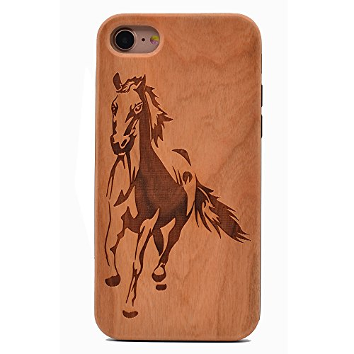iPhone 6S Case Running Horse Pattern Wood Case Handmade Carving Real Wooden Case Cover with Rubber Case Back for Apple iPhone 6,iPhone 6S