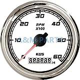 GYW-YW Kus océan Compte-Tours Bogie Wagon, Bateau Compteur de Vitesse avec chronographe numérique étanche LCD Indice de Vitesse 0-6000 RPM mm 0,5 à 25085