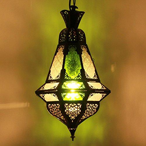 Orientalische Pendelleuchte Marokkanische Lampe Houta Grün/Weiß H 52 cm | Echtes Kunsthandwerk aus Marokko wie aus 1001 Nacht | handgefertigte Hängelampe handmade Pendellampe | L1260