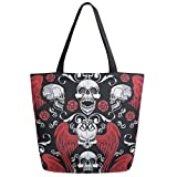 ZzWwR Stylish Gothic Coat Skull Grunge Vintage Pattern Extra Large Canvas Shoulder Tote Top Storage Handle Bag for Gym Beach Weekender Travel Reusable Grocery Shopping