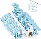 Juego de 20 perchas de plástico para bebé, con ganchos apilables para ahorrar espacio, antideslizantes, extensibles, para bebés, niños pequeños, color azul