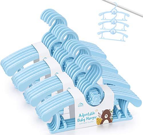Anstore Grucce per bambini, Grucce Antiscivolo Bambino Plastica, Appendini impilabili, per risparmiare spazio per unisex bambino Set di 20, blu