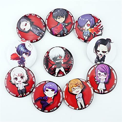XIAOM 10 pz/Set Anime Tokyo Ghoul Kaneki Ken Figura distintivi Pin Pin Pulsante Spilla Blocco Ornamento di Abbigliamento Accessoies Collezione Cosplay