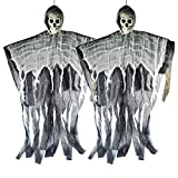 XONOR 2Pcs Halloween Hanging Skeleton Ghost for Front Yard Patio Lawn Garden Party Décor and Holiday Decorations, 100cm, Black
