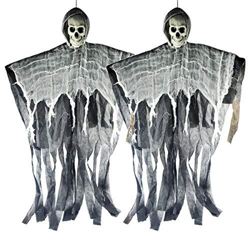 XONOR 2 Pezzi Halloween Scheletro Appeso Fantasma per Cortile sul Cortile Giardino Decorazioni per Feste da Giardino e Decorazioni Natalizie, 90 cm, Nero