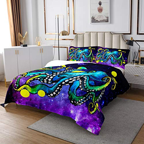 Colcha 3D de pulpo Galaxy Octopus Tentáculos para niños y niñas y niños con patrón de animales subacuáticos, ultra suave, decoración de cielo estrellado, acolchado, dormitorio, tamaño King