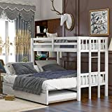 KLMM Twin Over Pull-Out Bunk Bed with Trundle, Wooden Twin Over Twin/Full/Queen/King Bunk Bed, Accommodate 4 People Extendable Bunk Beds with Ladder and Safety Rail (White)