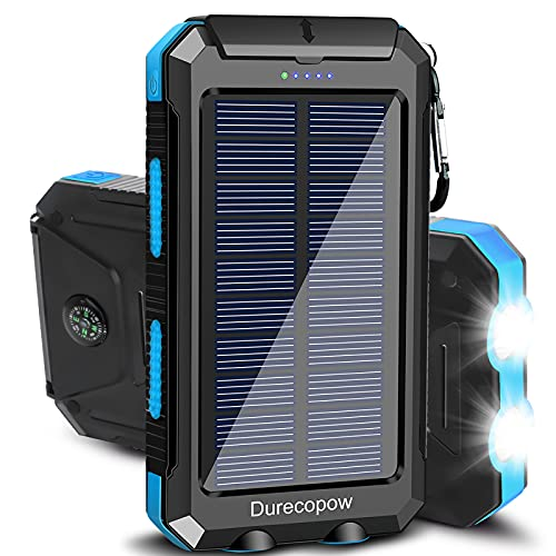 Solar Charger, Durecopow 20000mAh Portable Outdoor Waterproof Solar Power Bank, Camping External Backup Battery Pack Dual 5V USB Ports Output, 2 Led Light Flashlight with Compass (Blue)