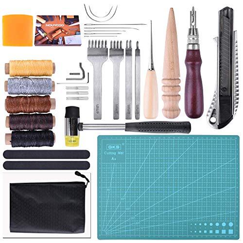 ETEPON Leder Werkzeuge Set 29 PCS Handwerkzeuge Couture Leder Handwerk (Bunt) (Ecru)