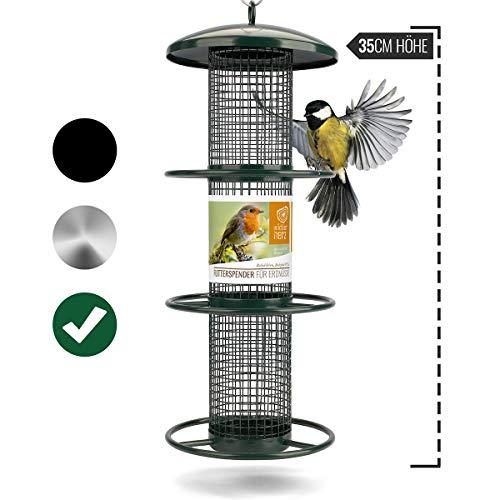 wildtier herz | Nuss-Futterspender 35cm - Futtersäule für Vögel zum Aufhängen mit Edelstahl-Anflugplätzen, Futterstation zur ganzjährigen Wildvögel Fütterung (Grün)