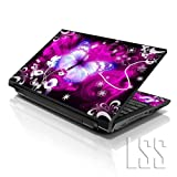 LSS 15 15.6 inch Laptop Notebook Skin Sticker Cover Art Decal Compatible with 13.3' 14' 15.6' 16' HP, Dell, Lenovo, Apple, Asus, Acer (Free 2 Wrist Pad Included) - Floral Purple Butterfly