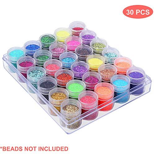 Petites Boîtes Plastique Rangement Perles - Pots de Rangement avec Compartiments Amovibles, Couvercles, Organisation Perles, Maquillages, Paillettes Nail Art (1 Pack)