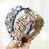 ASLKUYT Accesorios para el cabello elegantes diademas de perlas de rebabas maquillaje moda diadema para mujeres niñas coreano ancho aro de pelo 2 uds