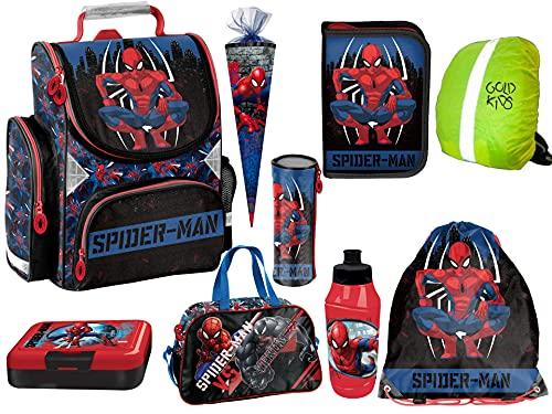 Marvel Spiderman 9-teiliges Schulranzen-Set Kinder Rucksack, Federmappe, Turnsack, Lunchset, Sporttasche, Schlamperrolle, Zuckertüte, Regenschutz Spider-Man Lizenz