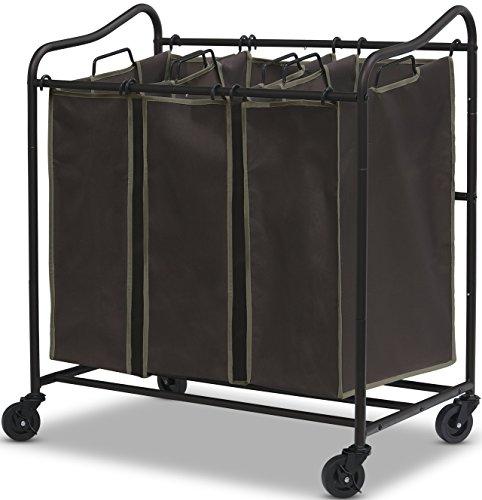 Simple Houseware Heavy Duty 3-Bag Laundry Sorter Rolling ...