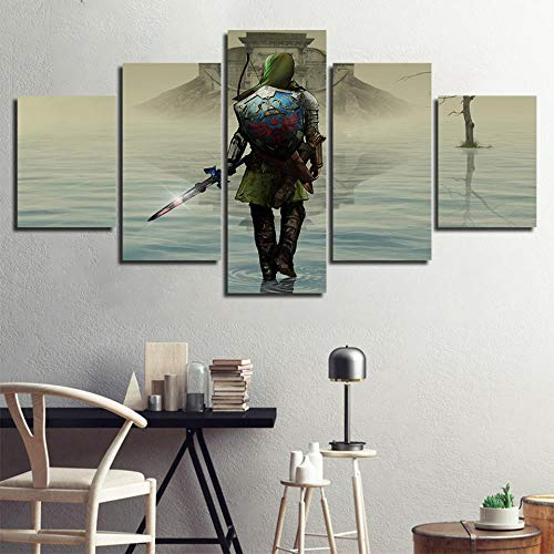 Poster Und Drucke 5 Stück The Legend Of Zelda Videospiel Gemälde Kinderzimmer Wandkunst Modulare Bilder Leinwand Rahmen Wohnkultur(size 1)