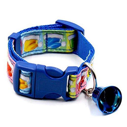 SSITG Kerstmis huisdier halsband hondenhalsband instelbaar halsband met bel blauw L