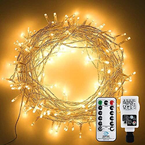 CHINS LED Lichterkette, 20M 200 LED Weihnachtsbaum Lichterkette für Innen und Außen, Strombetrieben mit EU Stecker, IP44 Wasserdicht, 8 Modi Dimmbar, Warmweiß Lichterkette für Party, Beleuchtungdeko