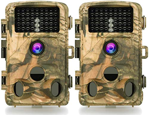 4-Pack Game Trail Deer Cameras 20MP 1920x1080P H.264 Video with 100Ft Night Vision No Glow 0.1S Trigger Time Motion Activated IP66 Waterproof for Outdoor Wildlife Hunting & Home Security Surveillance