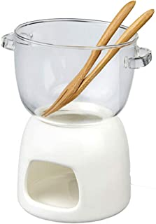 TAMUME Vidrio Set de Fondue de Chocolate, Pack de Olla de Fondue de Vidrio y Calentador de Porcelana con Tenedor para Fondue