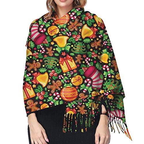Shawl & Wrap - Pañuelo de cashmere para mujer, regalo de Navidad para el árbol de Navidad, para invierno, manga larga, suave, cálido, 196 x 68 cm