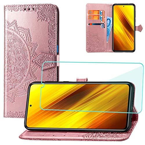 Yohii Funda para Xiaomi Poco X3 Pro/Xiaomi Poco X3 NFC + Protector de Pantalla, Libro Caso Piel PU Soporte Plegable Ranuras Cartera con Tapa Tarjetas Magnético Cuero Flip Carcasas - Oro Rosa