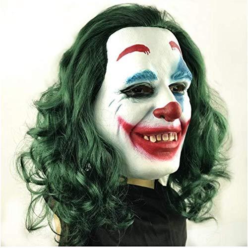 YGHBKL Látex con Peluca Traje de Payaso Payaso Cabello Colorido Máscara de Fiesta de Miedo Divertido Cosplay Joker Máscaras de Pelo Verde Accesorios para el Cabello Regalo