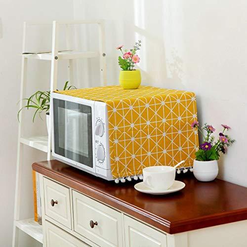 Cubierta de Lino de Estilo Moderno Cubierta a Prueba de Polvo de microondas Campana de Horno de microondas Decoración del hogar Toalla de microondas con Bolsa Suministros para el hogar - Amarillo