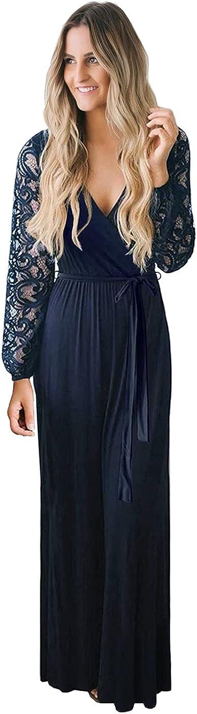 Zattcas Womens Vintage Floral Lace Long Sleeve Faux Wrap V Neck Party Long Maxi Dress