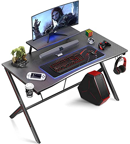 Gome Gaming Computer Desk for Home Office - 47' Large PC Writing Desk for Small Space, Modern Wood Desk with Monitor Stand, Ergonomic Study Work Desk Black