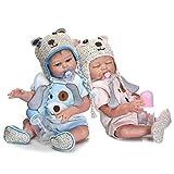 Minidiva Reborn Baby Dolls, 2pcs 20 inch/50cm Boy and Girl Twins Full Body Soft Silicone Newborn Baby Lifelike Reborn Dolls Xmas Gift-RB147