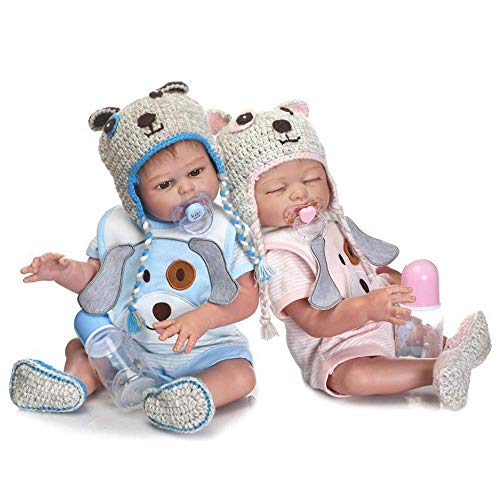 Minidiva Reborn Baby Dolls, 2pcs 20 inch/50cm Boy and Girl Twins Full Body Soft Silicone Newborn Baby Lifelike Reborn Dolls Xmas Gift-RB147