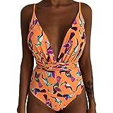 Costume da Bagno a Righe Longra Poliestere Materiale Superiore Donna Motivo a Righe Filo Libero Sling Costume da Bagno Intero Costumi da Bagno Costumi da Bagno