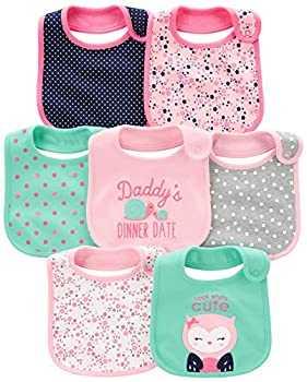 Simple Joys by Carter s Baby Girls  7-Pack Teething Bib Pink/Mint One Size