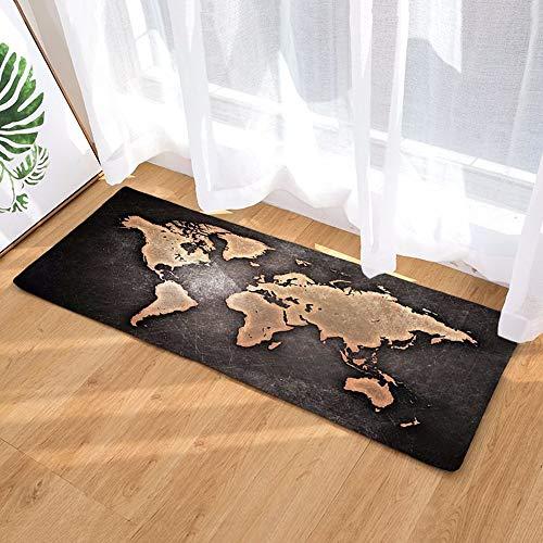 Morbuy Felpudos Alfombra Mapa del Mundo Fácil de Limpiar Antideslizante Alfombras Piso Moqueta Mats Pad para (40 * 60CM, Sentido del Tiempo)