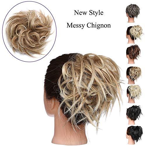 Chignon Elastico Capelli Extension Finti Posticci Ricci Messy Hair Bun Updo Ponytail Extensions Coda di Cavallo Ciambella 45g, Castano mix Biondo Chiarissimo
