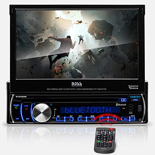 BOSS Audio Systems BV9986BI Car DVD Player - Single Din, 7 Inch Digital LCD, Bluetooth Audio and Hands-Free Calling, DVD, CD, MP3, USB, SD Aux-in, AM FM Radio Receiver, Multi-Color Illumination