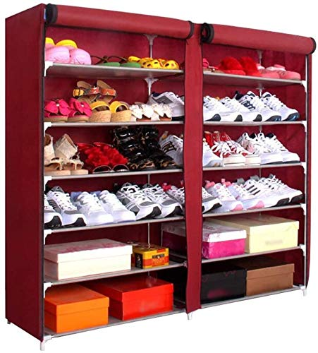 Organizador de rack de zapatos 42 pares de bastidores portátiles de zapatos de doble fila, bastidor de almacenamiento, cubierto con cubierta de zapatos para puerta de entrada (7 capas) para puerta de