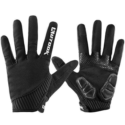 KUTOOK Herren Fahrradhandschuhe Mit Gel Vollfinger MTB Handschuhe für das Radfahren(Schwarz,XL)