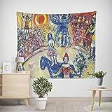 Tapiz Pared,Colcha de pícnic,Multiuso - Tapices Decoración,paño de Pared,tapicería Salón dormitorio - Pareo/Toalla de Playa - Cuadros famosos Chagall espectáculo de circo 200×150cm