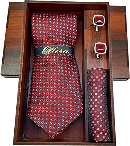 Ollera Men Premium Neck Tie and Pocket Square with Cufflink Combo Gift Set in Premium Wooden Box(Maroon, Free Size)