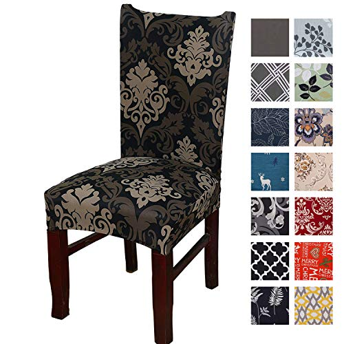 Printed Dining Chair Slipcovers, Removable Washable Soft Spandex Stretch Chair Covers Banquet Chair Seat Protector Slipcover for Kitchen Home Hotel (Set of 4, Black Vintage)