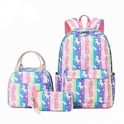 QW 3PCS New School Bags Set Mochila Ligera Bolsa de Libros para Estudiantes Estampado de Dibujos Animados Impermeable para niña Mochila 35L Mochila de Viaje de Gran Capacidad para com